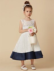 cheap -A-Line Knee Length Flower Girl Dress - Lace Satin Sleeveless Scoop Neck with Bow(s) by LAN TING BRIDE®