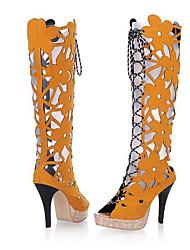 preiswerte -Damen Schuhe Vlies Sommer Modische Stiefel Stiefel Stöckelabsatz Peep Toe Mittelhohe Stiefel für Normal Schwarz Gelb Rot