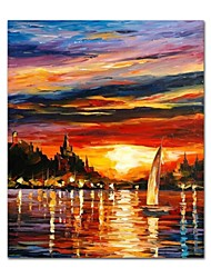 cheap -STYLEDECOR Modern Hand Painted the Sailboat in the Sunset Oil Painting on Canvas for Living Room