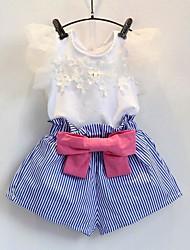 Недорогие -Дети Девочки Однотонный Цветочный принт С короткими рукавами Набор одежды
