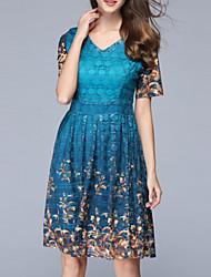 cheap -Women's Vintage A Line Dress - Floral, Print