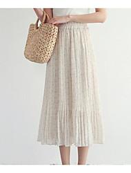 preiswerte -Damen Baumwolle Schaukel Röcke - Solide Gefaltet
