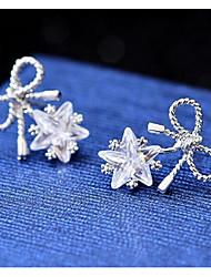 cheap -Cubic Zirconia Stud Earrings - Star, Bowknot Simple, Fashion Silver For Wedding / Party