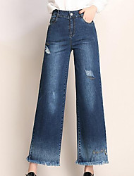 cheap -Women's Basic Wide Leg Jeans Pants - Solid Colored High Waist