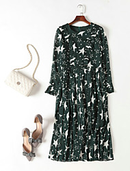 cheap -MMLJ Women's Street chic Flare Sleeve Chiffon Dress - Geometric, Pleated Print