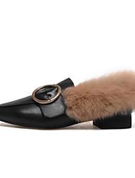 povoljno -Žene Cipele Koža Mekana koža Jesen Zima Udobne cipele Natikače i mokasinke Ravna potpetica za Kauzalni Crn Bež Tamno smeđa