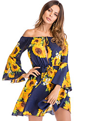 cheap -Women's Street chic Flare Sleeve A Line Dress - Floral, Backless