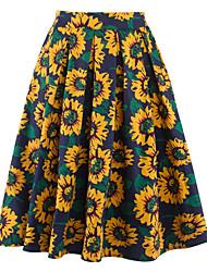 baratos -Mulheres Moda de Rua Evasê Saias - Floral