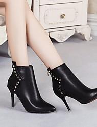 baratos -Mulheres Sapatos Couro Ecológico Primavera / Outono Curta / Ankle Botas Salto Agulha Botas Curtas / Ankle Preto / Vermelho