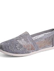 povoljno -Žene Cipele Čipka Proljeće Ljeto Udobne cipele Natikače i mokasinke Ravna potpetica za Kauzalni Vanjski Crn Sive boje