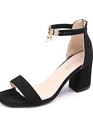 abordables -Femme Chaussures Cuir Nubuck Printemps Confort Sandales Talon Bas Bout rond Strass pour Noir Gris Rose