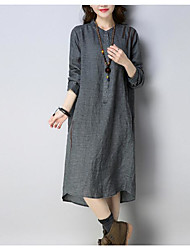 cheap -Women's Flare Sleeve Cotton Shift Dress - Solid Colored Pleated
