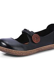baratos -Mulheres Sapatos Pele Napa / Pele Primavera / Outono Conforto Rasos Salto Baixo Preto / Castanho Claro / Verde Claro