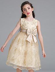 abordables -Robe Fille de Soirée Quotidien Couleur Pleine Fleur Coton Rayonne Spandex Eté Sans Manches Mignon Actif Blanc Beige