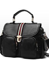 cheap -Women's Bags PU Leather Tote Zipper Black