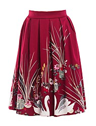 cheap -Women's Basic A Line Skirts - Solid Colored Floral Animal