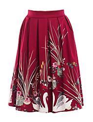preiswerte -Damen Grundlegend A-Linie Röcke - Solide Blumen Tier