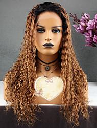 baratos -Cabelo Remy Peruca Cabelo Brasileiro Com cachos Encaracolado Corte em Camadas 130% Densidade Com Baby Hair Marrom Dourado Curto Longo