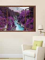 Недорогие -Декоративные наклейки на стены - Простые наклейки Пейзаж 3D Гостиная Спальня Ванная комната Кухня Столовая Кабинет / Офис