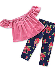 cheap -Girls' Daily Holiday Solid Colored Floral Print Clothing Set, Cotton Polyester Summer Short Sleeves Cute Active Blushing Pink