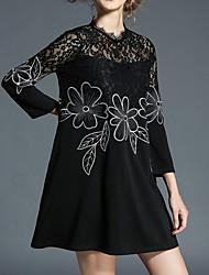 cheap -Women's Simple A Line Dress - Color Block, Lace Patchwork