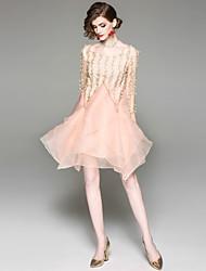 abordables -Mujer Básico Línea A Vestido - Malla Bordado, Floral Sobre la rodilla