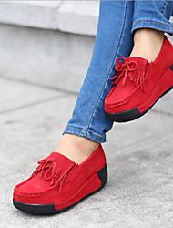 abordables -Femme Chaussures Polyuréthane Printemps Automne Confort Mocassins et Chaussons+D6148 Creepers pour Fuchsia Bleu Bourgogne