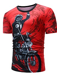 cheap -Men's Club Skull / Basic Cotton T-shirt - Graphic Black & Red, Print Round Neck / Short Sleeve
