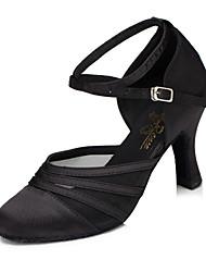 Недорогие -Жен. Обувь для модерна Синтетика На каблуках Кубинский каблук Танцевальная обувь Черный / Лиловый / Тренировочные