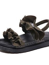 Недорогие -Жен. Обувь Полиуретан Лето Удобная обувь Сандалии На плоской подошве Черный / Бежевый / Военно-зеленный