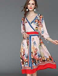 baratos -Mulheres Básico / Moda de Rua Rodado Vestido - Estampado, Floral Altura dos Joelhos