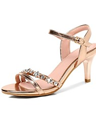 cheap -Women's Shoes Customized Materials Spring & Summer Comfort Sandals Stiletto Heel Open Toe Gold / Silver / Party & Evening