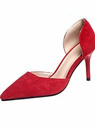 preiswerte -Damen Schuhe Nubukleder Frühling Herbst Pumps Komfort High Heels Stöckelabsatz für Normal Schwarz Gelb Rot