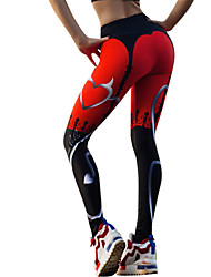 cheap -Women's Sexy Yoga Pants - Black / Red Sports Heart Tights / Leggings Running, Fitness, Gym Activewear Lightweight, Quick Dry, Breathable Stretchy