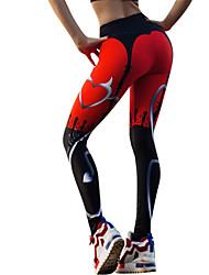 baratos -Mulheres Calças de Yoga - Preto / Vermelho Esportes Gráfico Meia-calça / Leggings Corrida, Fitness, Ginásio Roupas Esportivas Leve, Secagem Rápida, Respirável Com Stretch