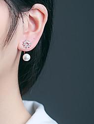 cheap -Women's Cubic Zirconia Stud Earrings - S925 Sterling Silver, Freshwater Pearl Flower Korean, Sweet, Fashion Silver For Gift / Daily