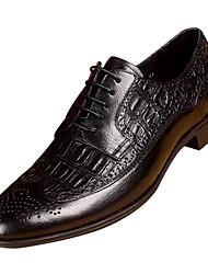 baratos -Homens sapatos Pele Napa / Pele Primavera Conforto Oxfords Preto / Café / Pele