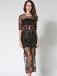 cheap -Women's Beach Boho Slim Chiffon Dress - Floral / Geometric / Plaid Lace / Mesh / Tassel High Waist