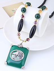 abordables -Long Pendentif de collier - Résine Rétro, Européen, Mode Vert foncé 78 cm Colliers Tendance Pour Quotidien
