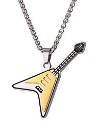 Недорогие -Ожерелья с подвесками Цепь Foxtail Музыка Гитара Мода Нержавеющая сталь Золотой 55 cm Ожерелье Бижутерия Назначение Повседневные