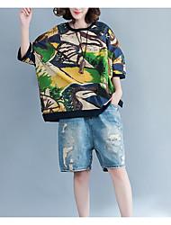 baratos -Mulheres Camiseta Negócio / Vintage Franjas, Sólido Preto e Vermelho