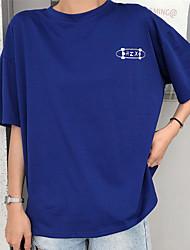 baratos -t-shirt feminina - carta de retrato colorido sólido em volta do pescoço
