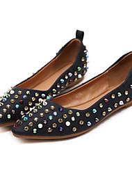 abordables -Femme Chaussures Polyuréthane Printemps Confort Ballerines Talon Plat Bout pointu Strass pour De plein air Noir / Rose