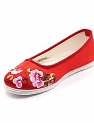 Недорогие -Жен. Обувь Шёлк Весна Эспадрильи На плокой подошве На плоской подошве Круглый носок Пурпурный / Красный / Розовый