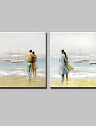 baratos -Pintura a Óleo Pintados à mão - Abstrato Paisagem Modern Incluir moldura interna / Lona esticada