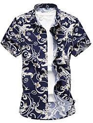 abordables -Hombre Tallas Grandes Camisa, Cuello Inglés Floral / Por favor, elija una talla más que su talla normal. / Manga Corta