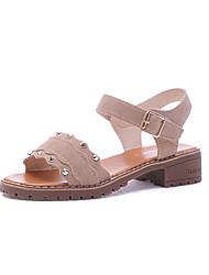baratos -Mulheres Sapatos Camurça Verão Conforto Sandálias Caminhada Salto de bloco Ponta Redonda Pedrarias Preto / Bege