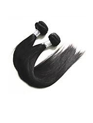 baratos -Cabelo Brasileiro / Pacotes Liso Cabelo Virgem / Cabelo Remy Extensões de Cabelo Natural 2 pacotes Tramas de cabelo humano Nova chegada / Venda imperdível / Grossa Preto Natural Extensões de cabelo