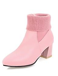 Недорогие -Жен. Обувь Дерматин Зима Модная обувь Ботинки На толстом каблуке Заостренный носок Сапоги до середины икры Черный / Серый / Розовый