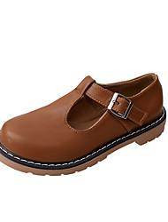 Недорогие -Жен. Полиуретан Лето Удобная обувь Туфли на шнуровке На плоской подошве Черный / Бежевый / Коричневый